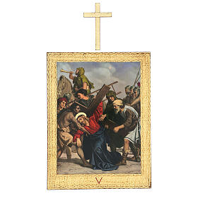 Vía Crucis impreso madera 15 estaciones con cruces 30x25 cm s5