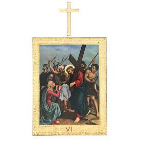 Vía Crucis impreso madera 15 estaciones con cruces 30x25 cm s6