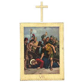 Vía Crucis impreso madera 15 estaciones con cruces 30x25 cm s7