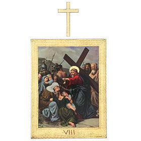 Vía Crucis impreso madera 15 estaciones con cruces 30x25 cm s8