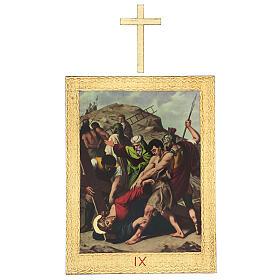 Vía Crucis impreso madera 15 estaciones con cruces 30x25 cm s9