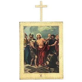 Vía Crucis impreso madera 15 estaciones con cruces 30x25 cm s10