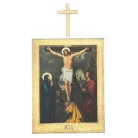 Vía Crucis impreso madera 15 estaciones con cruces 30x25 cm s12
