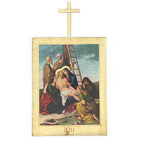 Vía Crucis impreso madera 15 estaciones con cruces 30x25 cm s13