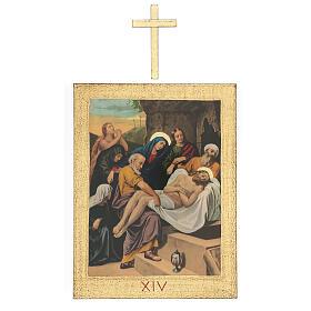 Vía Crucis impreso madera 15 estaciones con cruces 30x25 cm s14