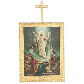 Vía Crucis impreso madera 15 estaciones con cruces 30x25 cm s15