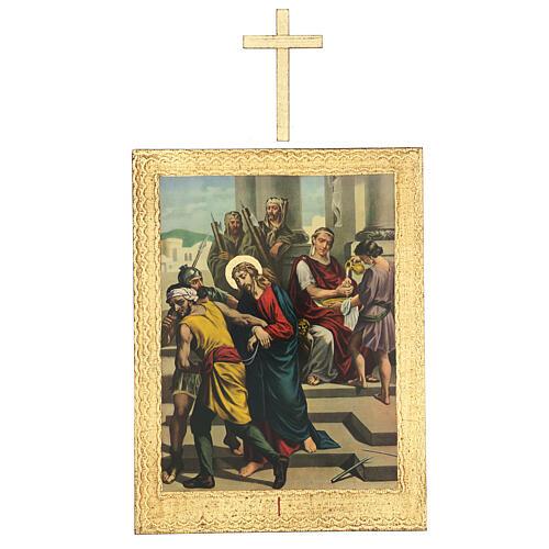 Vía Crucis impreso madera 15 estaciones con cruces 30x25 cm 1