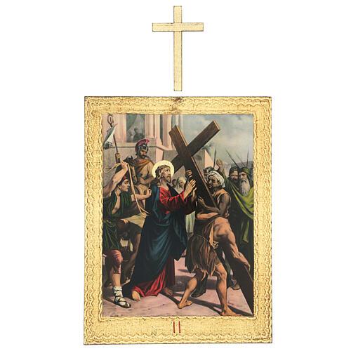 Vía Crucis impreso madera 15 estaciones con cruces 30x25 cm 2