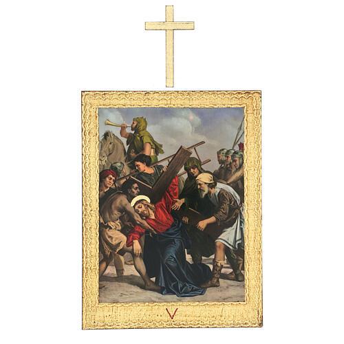 Vía Crucis impreso madera 15 estaciones con cruces 30x25 cm 5