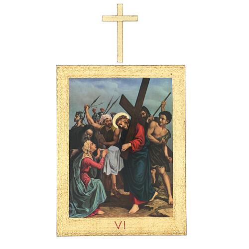 Vía Crucis impreso madera 15 estaciones con cruces 30x25 cm 6