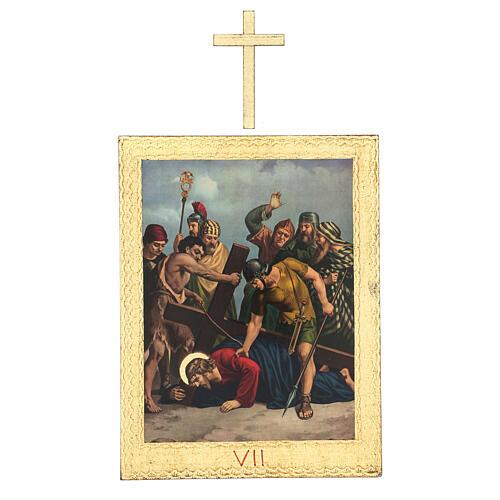 Vía Crucis impreso madera 15 estaciones con cruces 30x25 cm 7