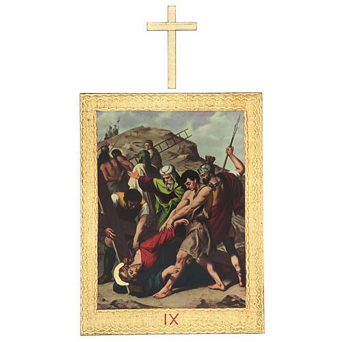 Vía Crucis impreso madera 15 estaciones con cruces 30x25 cm 9