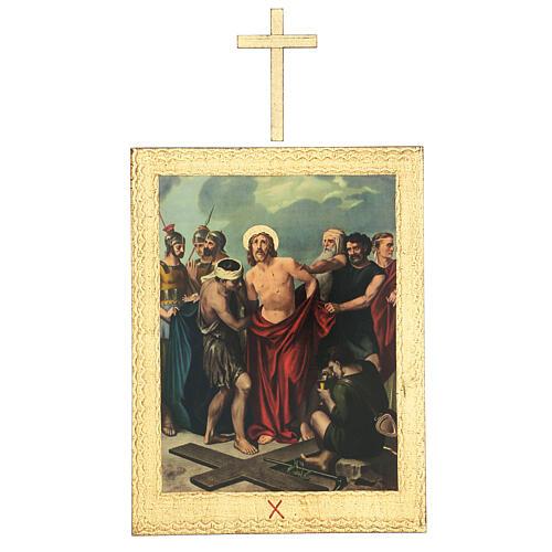 Vía Crucis impreso madera 15 estaciones con cruces 30x25 cm 10
