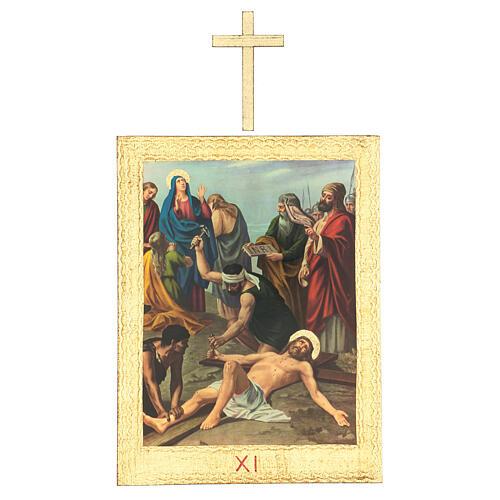 Vía Crucis impreso madera 15 estaciones con cruces 30x25 cm 11
