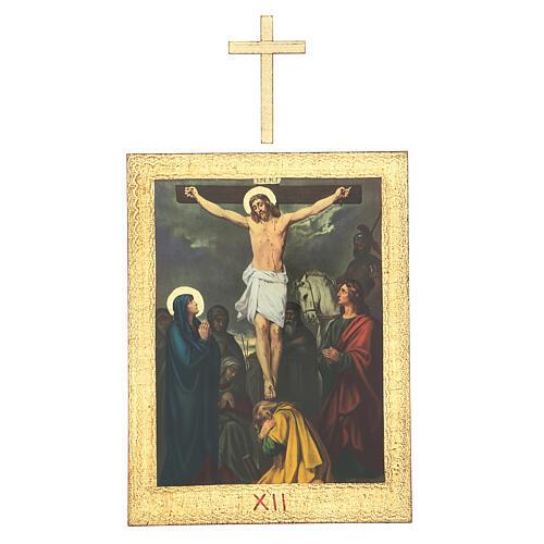 Vía Crucis impreso madera 15 estaciones con cruces 30x25 cm 12