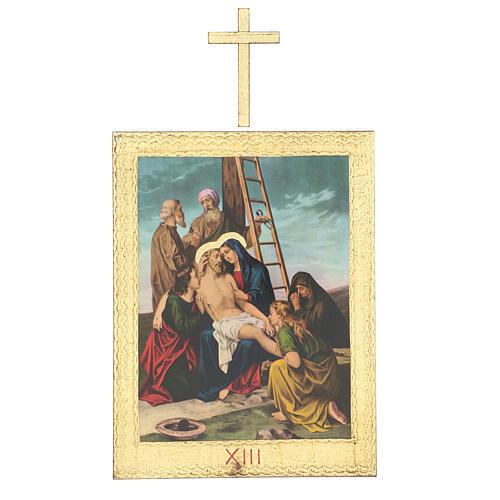 Vía Crucis impreso madera 15 estaciones con cruces 30x25 cm 13