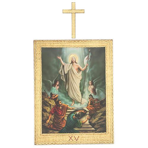 Vía Crucis impreso madera 15 estaciones con cruces 30x25 cm 15