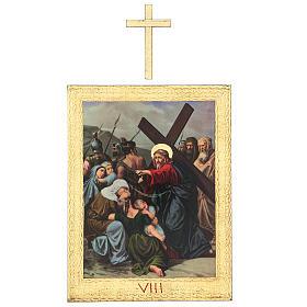 Via Crucis stampa in legno 15 stazioni con croci 30x25 cm s8