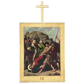Via Crucis stampa in legno 15 stazioni con croci 30x25 cm s9