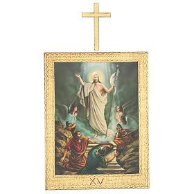 Via Crucis stampa in legno 15 stazioni con croci 30x25 cm s15