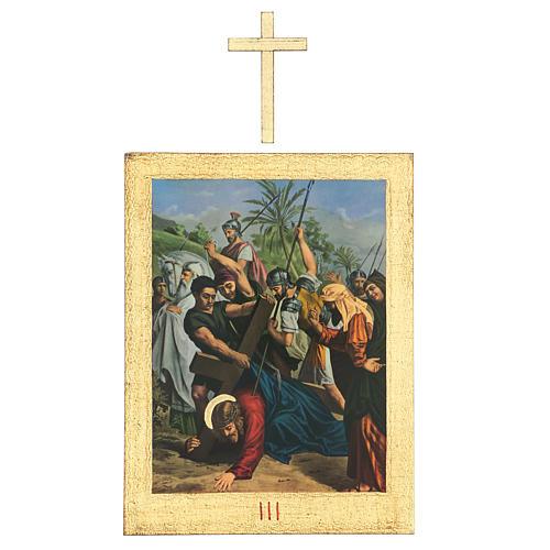 Via Crucis stampa in legno 15 stazioni con croci 30x25 cm 3