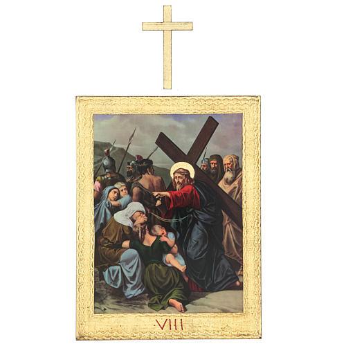 Via Crucis stampa in legno 15 stazioni con croci 30x25 cm 8