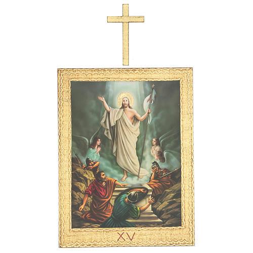 Via Crucis stampa in legno 15 stazioni con croci 30x25 cm 15