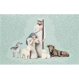 Willow Tree Card - Nativity (natività con bue e pecore) s1